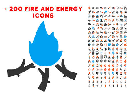 Wood Campfire icon with bonus energy pictograph collection. Vector illustration style is flat iconic elements for web design, app ui.