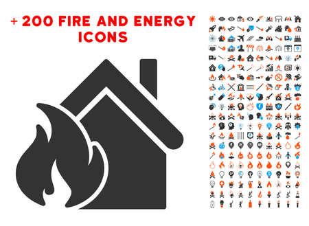 fiasco: Realty Fire Disaster pictograph with bonus power icon set. Vector illustration style is flat iconic symbols for web design, application user interface. Illustration