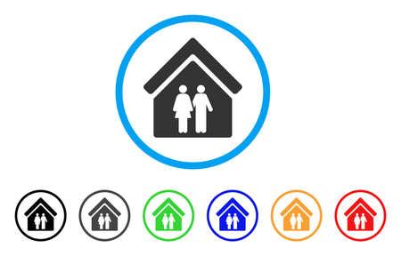 Maison arrondie icône de la maison. Le style est un symbole de maison grise de famille plate à l'intérieur du cercle bleu clair avec des versions de couleur noire, grise, verte, bleue, rouge, orange. Vecteur conçu pour les interfaces web et logiciels.