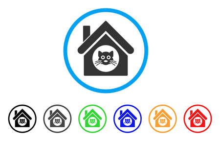 Cat House rounded icon. Style is a flat cat house grey symbol inside light blue circle with black, gray, green, blue, red, orange variants. Vector designed for web and software interfaces. Illustration