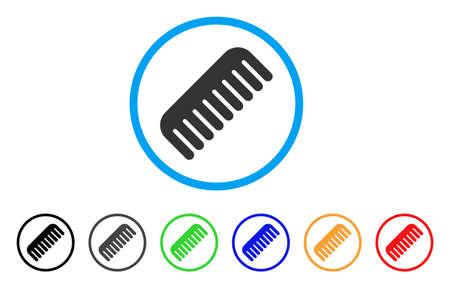 Icona pettinata arrotondata. Lo stile è un simbolo grigio a pettine piatto all'interno del cerchio azzurro chiaro con versioni nere, grigie, verdi, blu, rosse, arancioni. Vector progettato per interfacce web e software. Vettoriali