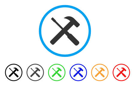 Hammer And Screwdriver Tools rounded icon. Illustration