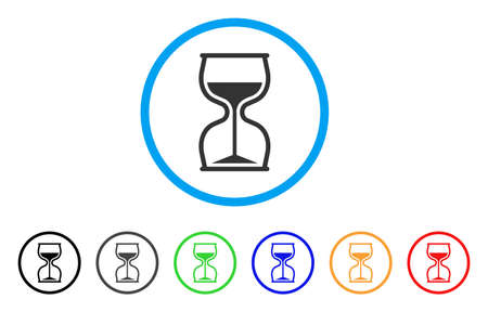 Hourglass rounded icon. Style is a flat hourglass gray symbol inside light blue circle with black, gray, green, blue, red, orange color versions. Vector designed for web and software interfaces.