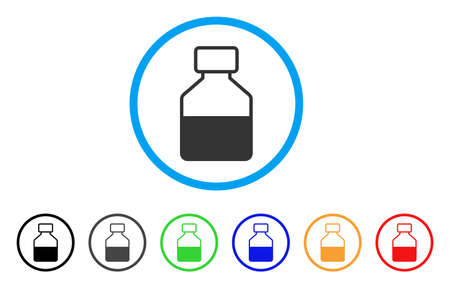 Liquid Bottle rounded icon. Style is a flat liquid bottle grey symbol inside light blue circle with black, gray, green, blue, red, orange variants. Vector designed for web and software interfaces.