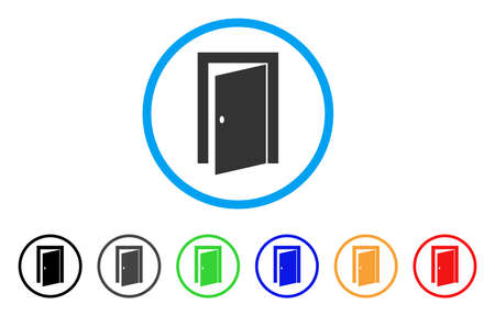 Icona arrotondata della porta. Lo stile è un simbolo di una porta piatta grigia all'interno del cerchio azzurro con varianti di nero, grigio, verde, blu, rosso, arancione. Vector progettato per interfacce web e software.