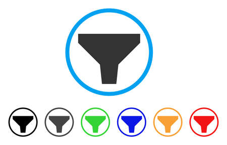 Filter rounded icon. Style is a flat filter grey symbol inside light blue circle with black, gray, green, blue, red, orange variants. Vector designed for web and software interfaces.