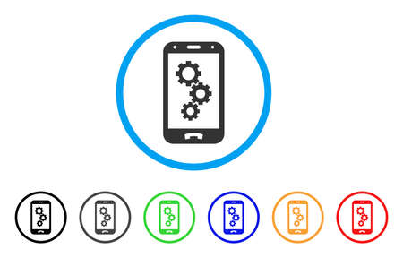 electronic components: Smartphone App Gears rounded icon. Style is a flat smartphone app gears grey symbol inside light blue circle with black, gray, green, blue, red, orange versions.
