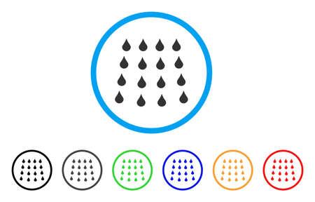 水滴は丸いアイコンです。スタイルは、フラットの水滴でグレーのシンボルを黒、グレー、緑、青、赤、オレンジ色のバリエーションを持つ光の青い円の中です。Web とソフトウェアのインタ フェース用に設計されたベクトル。