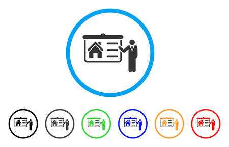 House Presentation rounded icon. Style is a flat house presentation grey symbol inside light blue circle with black, gray, green, blue, red, orange color versions.