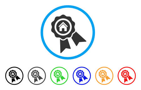 seal of approval: Realty Award rounded icon. Style is a flat realty award grey symbol inside light blue circle with black, gray, green, blue, red, orange color versions. Vector designed for web and software interfaces.