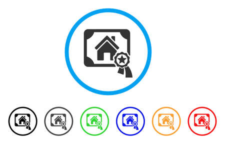 seal of approval: Realty Certification rounded icon. Style is a flat realty certification grey symbol inside light blue circle with black, gray, green, blue, red, orange color versions.