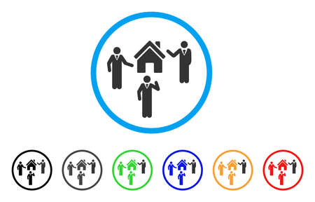 Realty Discuss Persons rounded icon. Style is a flat realty discuss persons grey symbol inside light blue circle with black, gray, green, blue, red, orange variants. Çizim