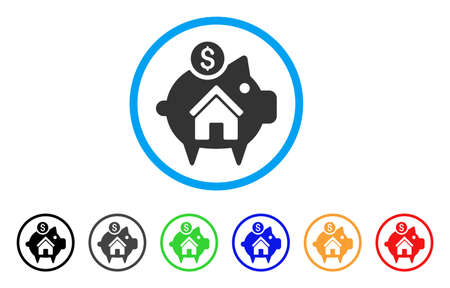 Realty Piggy Bank rounded icon. Style is a flat realty piggy bank gray symbol inside light blue circle with black, gray, green, blue, red, orange color versions. Illustration