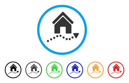 Realty Trend rounded icon. Style is a flat realty trend gray symbol inside light blue circle with black, gray, green, blue, red, orange color versions. Vector designed for web and software interfaces.