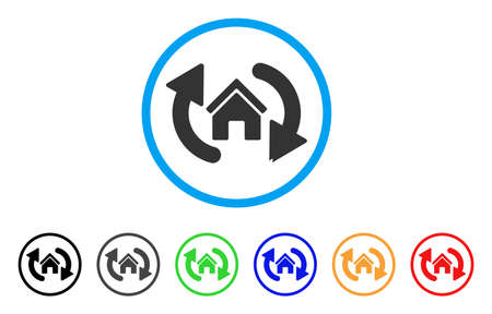Update House rounded icon. Style is a flat update house gray symbol inside light blue circle with black, gray, green, blue, red, orange color versions. Vector designed for web and software interfaces.