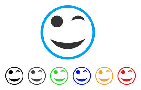 Wink Smile Rounded Icon Style Is A Flat Wink Smile Gray Symbol