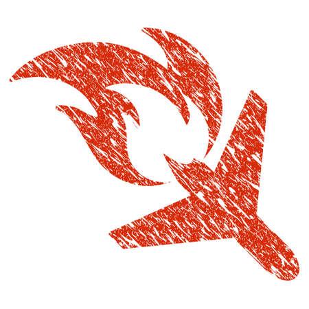 グランジ飛行機火災ゴム シール スタンプ透かし。アイコン機体火災災害シンボル グランジ デザインと汚れた質感。汚れたベクトル赤いステッカー