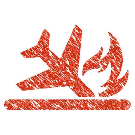 Grunge Airplane Landing Crash rubber seal stamp watermark. Icon airplane landing crash symbol with grunge design and dust texture. Unclean vector red emblem.