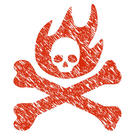 Grunge Bones Fire rubber seal stamp watermark. Icon bones fire symbol with grunge design and unclean texture. Unclean vector red sign.