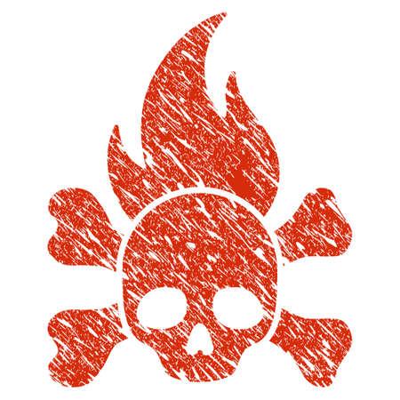 Grunge Death Fire rubber seal stamp watermark. Icon death fire symbol with grunge design and dust texture. Unclean vector red sticker. Ilustração