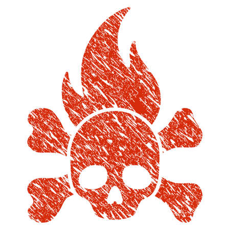 Grunge Death Fire rubber seal stamp watermark. Icon death fire symbol with grunge design and dust texture. Unclean vector red sticker. Illustration