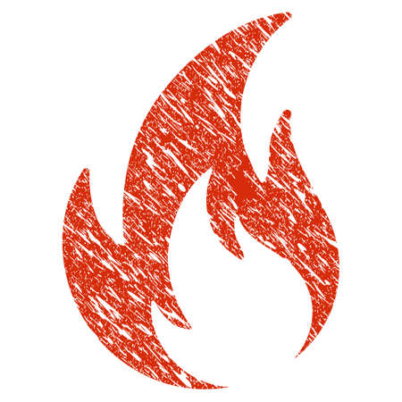 Icon flame symbol with grunge design and dirty texture.