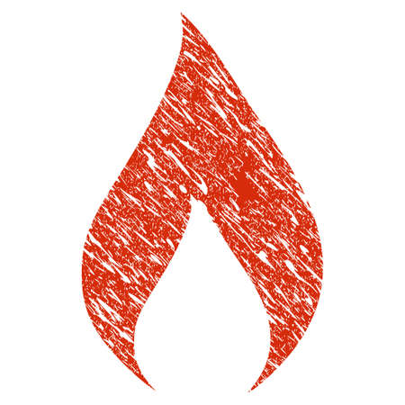 Icon flame symbol with grunge design and scratched texture.