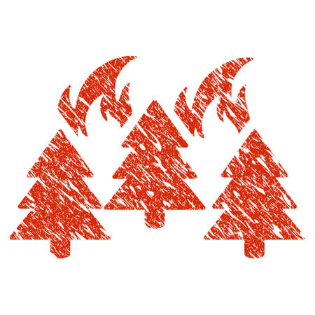 Icon forest fire disaster symbol with grunge design and scratched texture.