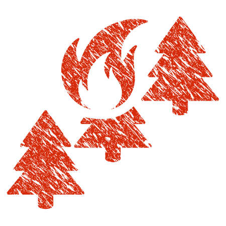 Icon forest fire symbol with grunge design and scratched texture. Illustration