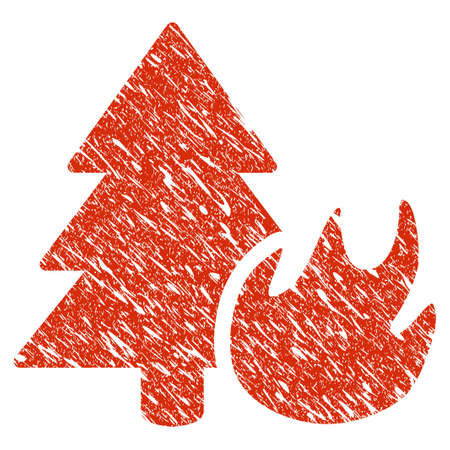 Icon forest fire symbol with grunge design and dirty texture. Illustration