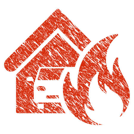 Icon garage fire disaster symbol with grunge design and scratched texture. Illustration
