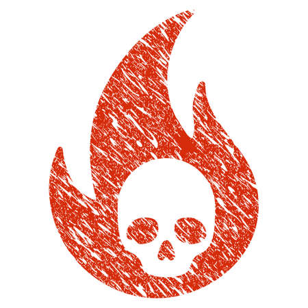 Icon hell fire symbol with grunge design and unclean texture. Illustration