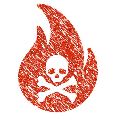 Icon hell fire symbol with grunge design and dust texture.