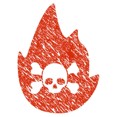 Icon hellfire symbol with grunge design and scratched texture. Illustration