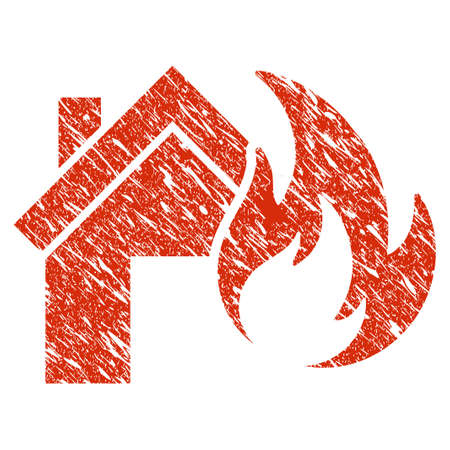 Icon home fire disaster symbol with grunge design and scratched texture.