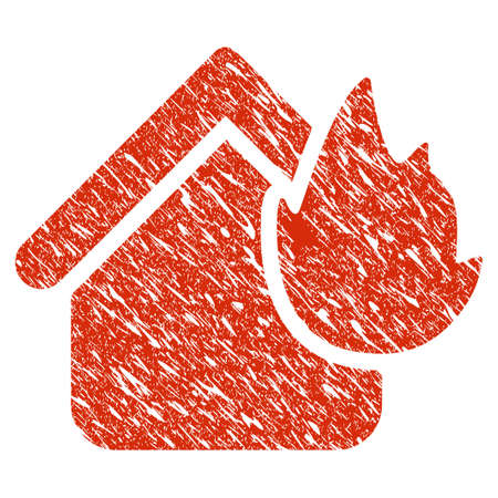 Icon home fire disaster symbol with grunge design and dirty texture.