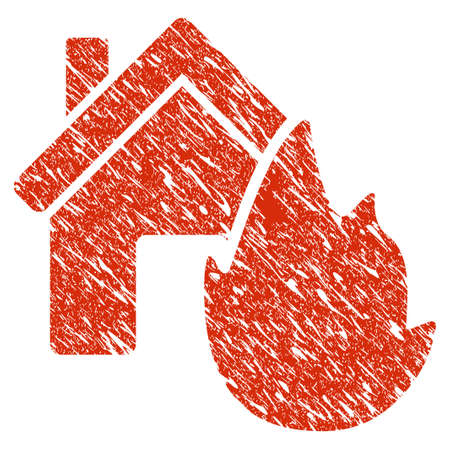 Icon house fire disaster symbol with grunge design and scratched texture.
