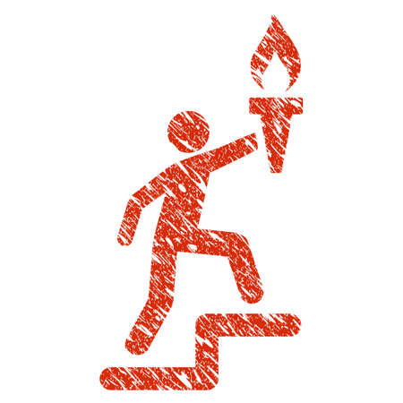 Icon leader climb with torch symbol with grunge design and dust texture.