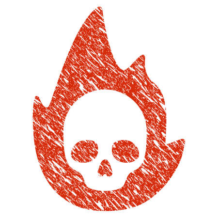 Grunge Mortal Flame rubber seal stamp watermark. Icon mortal flame symbol with grunge design and unclean texture. Unclean vector red sticker. Illustration