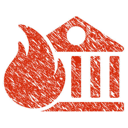 Grunge Bank Fire Conflagration rubber seal stamp watermark. Icon bank fire conflagration symbol with grunge design and dust texture. Unclean raster red sign. Stock Photo