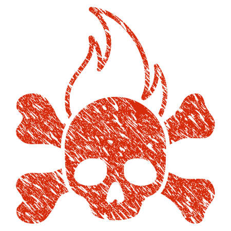 Grunge Death Fire rubber seal stamp watermark. Icon death fire symbol with grunge design and unclean texture. Unclean raster red sticker. Stock Photo