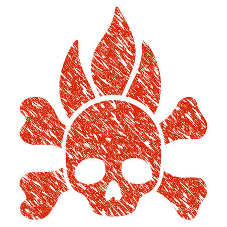 Grunge Death Fire rubber seal stamp watermark. Icon death fire symbol with grunge design and dirty texture. Unclean raster red sticker. Stock Photo