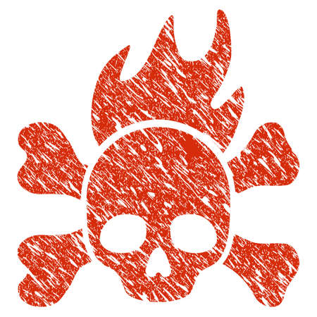 Grunge Death Fire rubber seal stamp watermark. Icon death fire symbol with grunge design and scratched texture. Unclean raster red sticker.