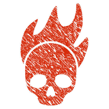 Grunge Death Fire rubber seal stamp watermark. Icon death fire symbol with grunge design and unclean texture. Unclean raster red emblem.