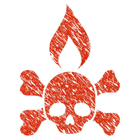 Grunge Death Ignition rubber seal stamp watermark. Icon death ignition symbol with grunge design and dust texture. Unclean raster red emblem.