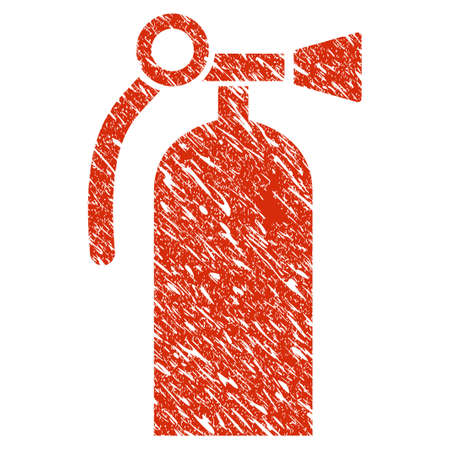 Grunge Fire Extinguisher rubber seal stamp watermark. Icon fire extinguisher symbol with grunge design and dirty texture. Unclean raster red emblem.