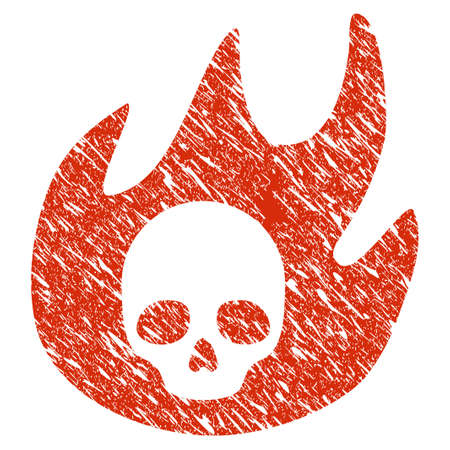 Grunge Hell Fire rubber seal stamp watermark. Icon hell fire symbol with grunge design and scratched texture. Unclean raster red sign.