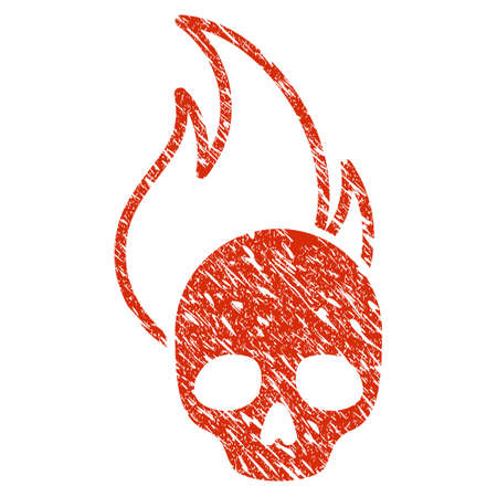 Grunge Hell Fire rubber seal stamp watermark. Icon hell fire symbol with grunge design and unclean texture. Unclean raster red emblem. Stock Photo