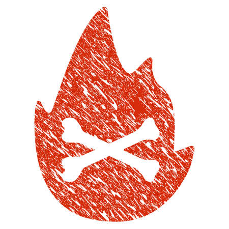 Grunge Hellfire Flame rubber seal stamp watermark. Icon hellfire flame symbol with grunge design and scratched texture. Unclean raster red sign.