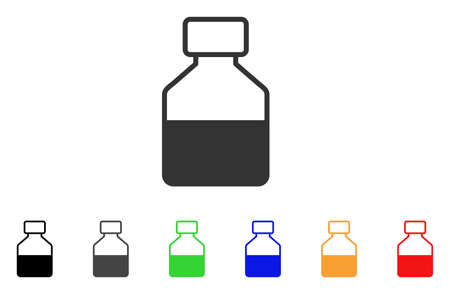 Liquid Bottle icon. Vector illustration style is a flat iconic liquid bottle symbol with black, grey, green, blue, red, orange color variants. Designed for web and software interfaces. Ilustracja